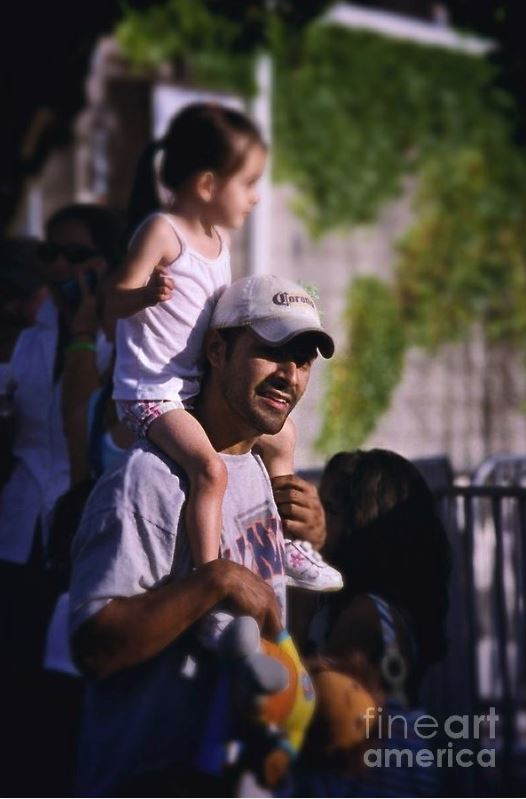 father daughter child carry shoulders stability photo people