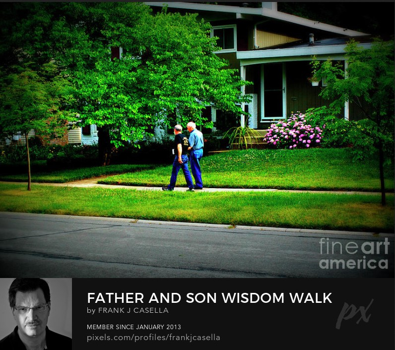 father, son, walking, neighborhood, sidewalk, wisdom, mentor,
